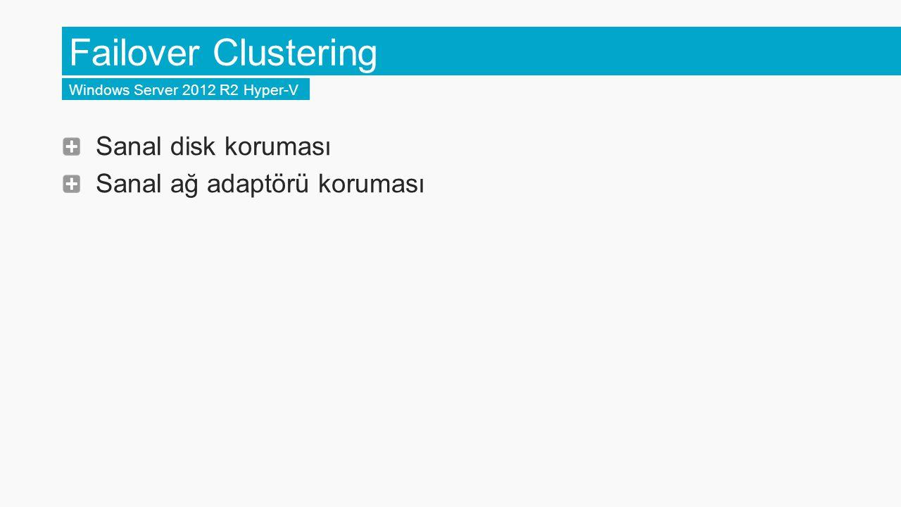 Failover Clustering Sanal disk koruması Sanal ağ adaptörü koruması
