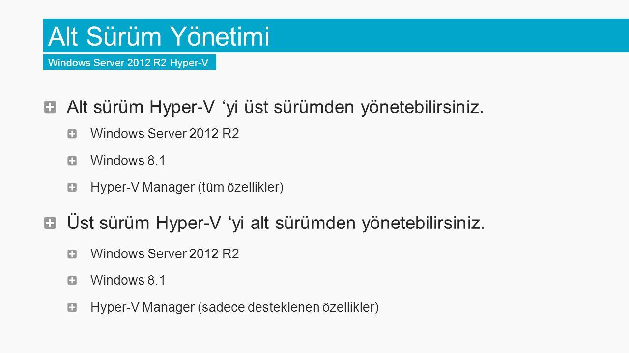 Alt Sürüm Yönetimi Windows Server 2012 R2 Hyper-V. Alt sürüm Hyper-V 'yi üst sürümden yönetebilirsiniz.