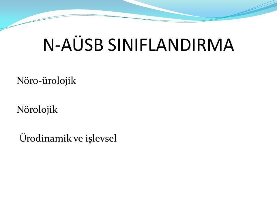 N-AÜSB SINIFLANDIRMA Nöro-ürolojik Nörolojik Ürodinamik ve işlevsel