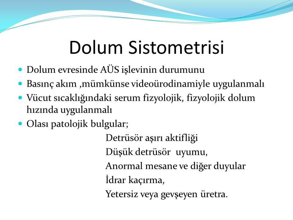Dolum Sistometrisi Dolum evresinde AÜS işlevinin durumunu