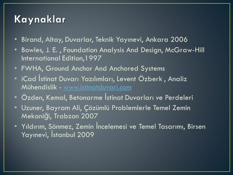 Kaynaklar Birand, Altay, Duvarlar, Teknik Yayınevi, Ankara 2006