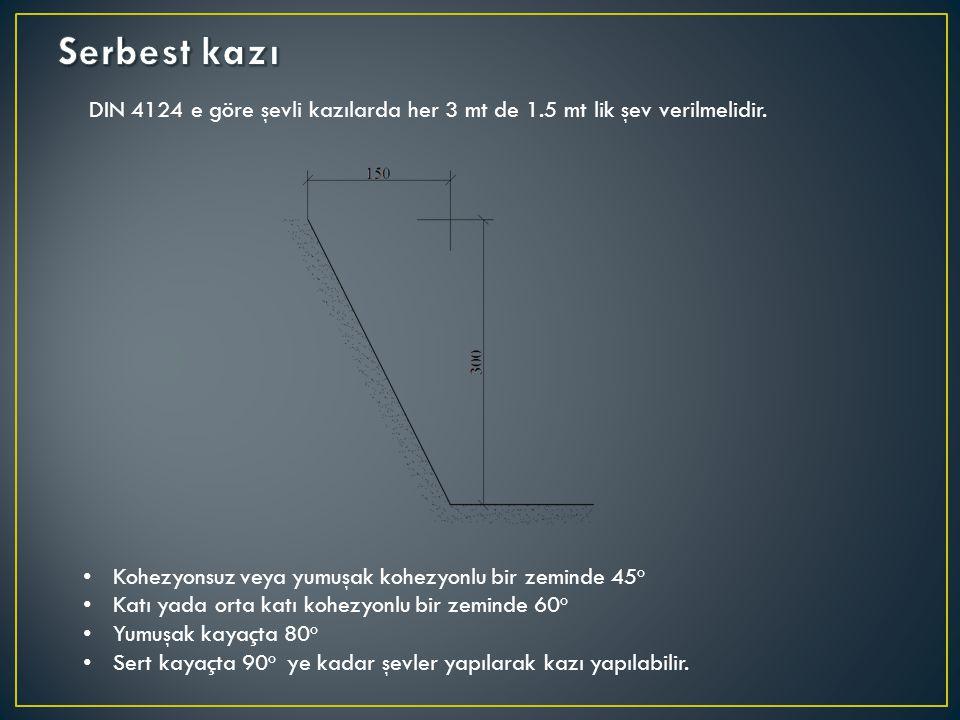 Serbest kazı DIN 4124 e göre şevli kazılarda her 3 mt de 1.5 mt lik şev verilmelidir. Kohezyonsuz veya yumuşak kohezyonlu bir zeminde 45o.
