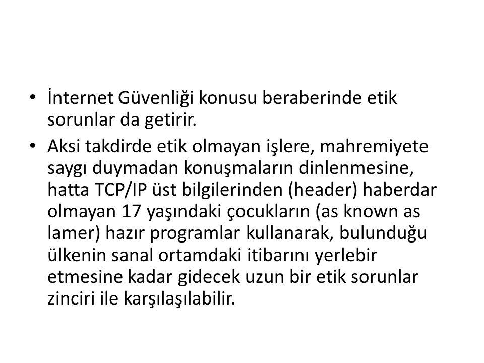 İnternet Güvenliği konusu beraberinde etik sorunlar da getirir.