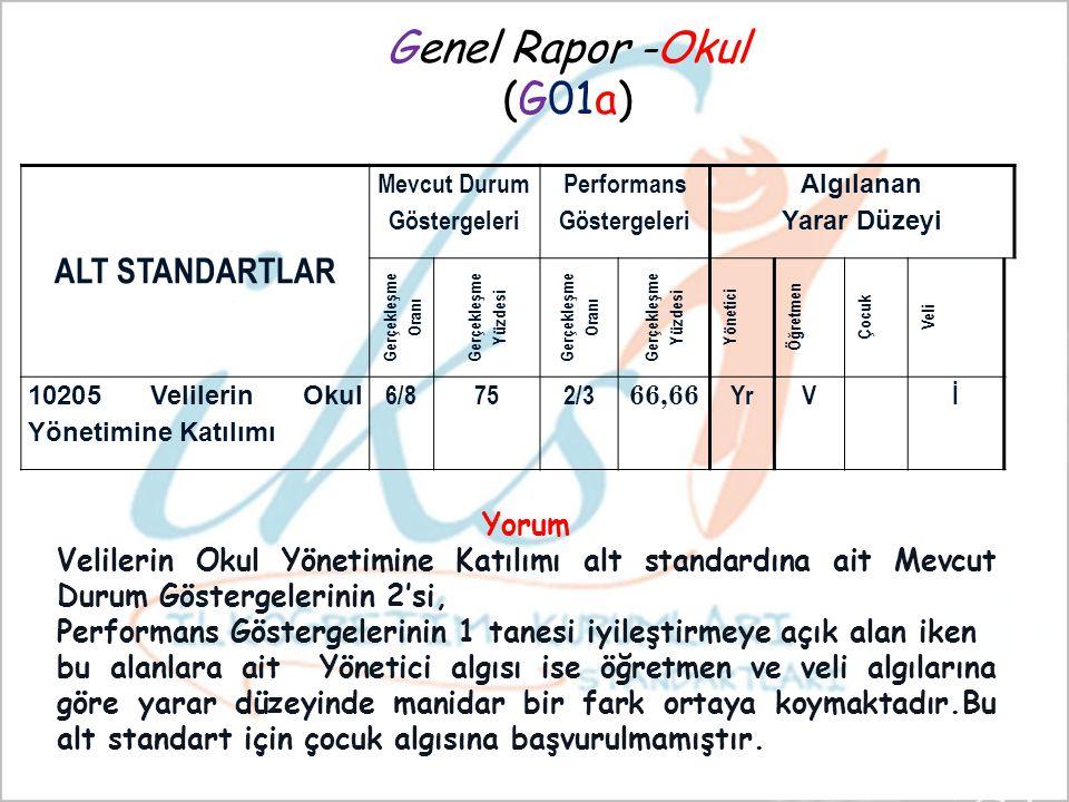 Genel Rapor -Okul (G01a) ALT STANDARTLAR Yorum
