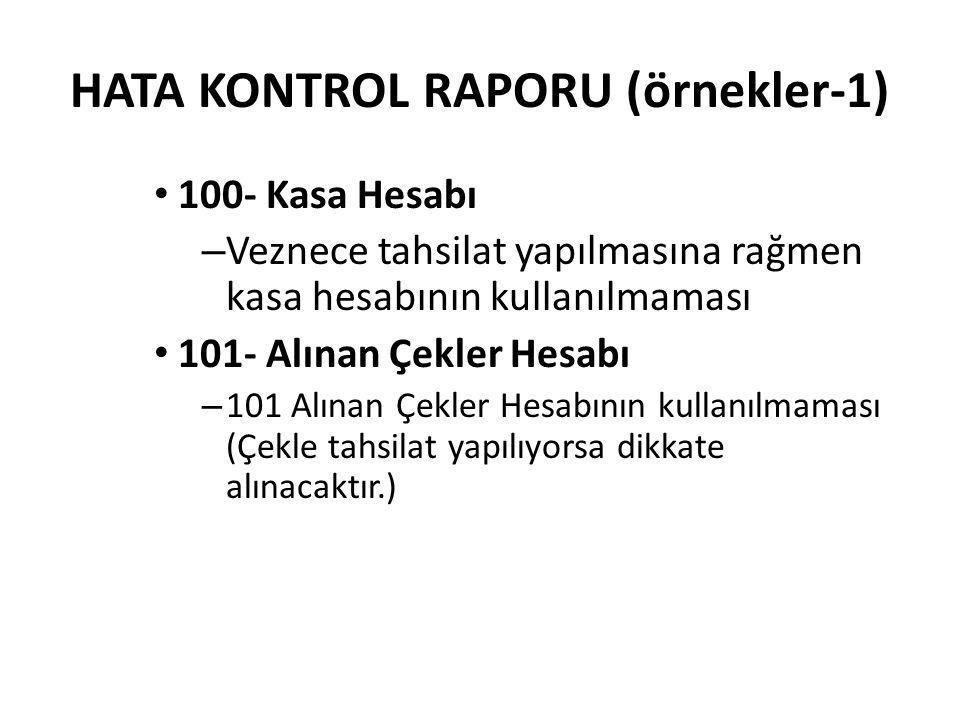 HATA KONTROL RAPORU (örnekler-1)