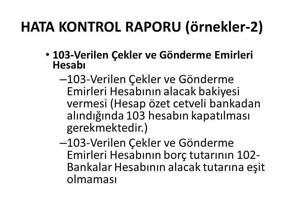 HATA KONTROL RAPORU (örnekler-2)