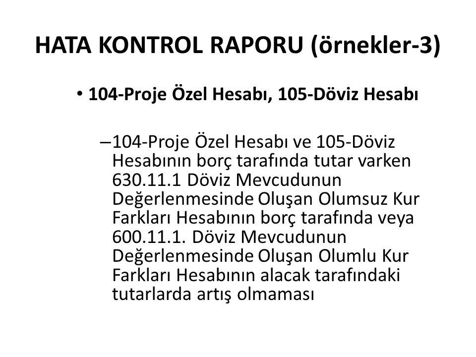HATA KONTROL RAPORU (örnekler-3)