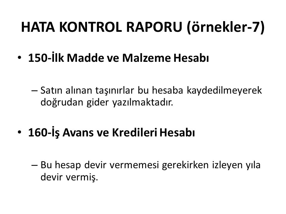 HATA KONTROL RAPORU (örnekler-7)