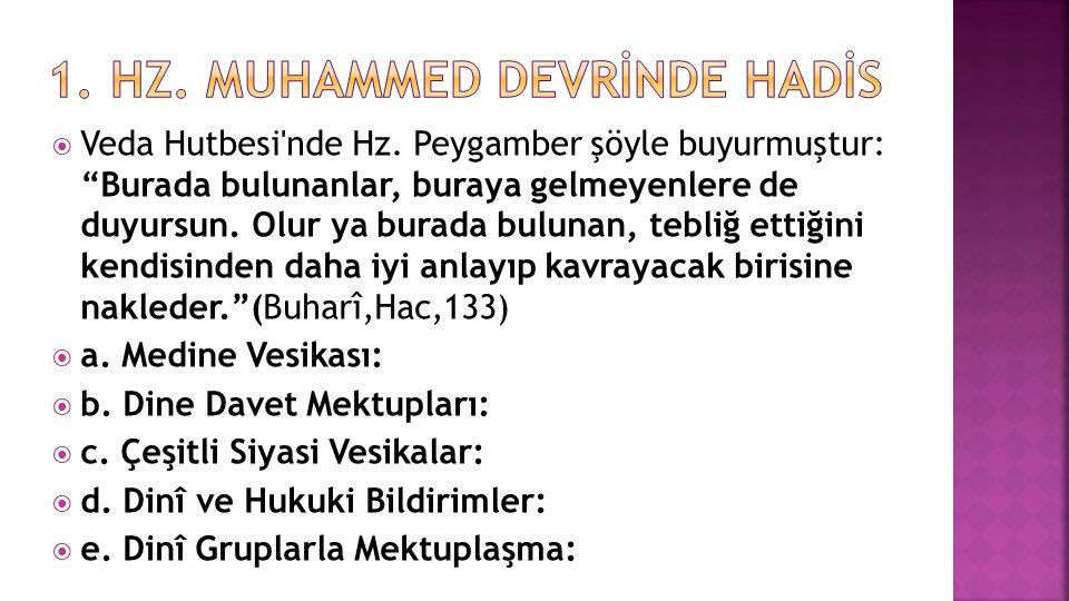 1. Hz. Muhammed Devrİnde Hadİs