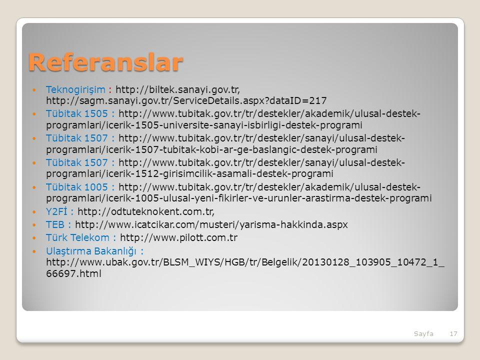Referanslar Teknogirişim : http://biltek.sanayi.gov.tr, http://sagm.sanayi.gov.tr/ServiceDetails.aspx dataID=217.