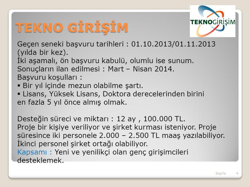 TEKNO GİRİŞİM Geçen seneki başvuru tarihleri : 01.10.2013/01.11.2013 (yılda bir kez). İki aşamalı, ön başvuru kabulü, olumlu ise sunum.
