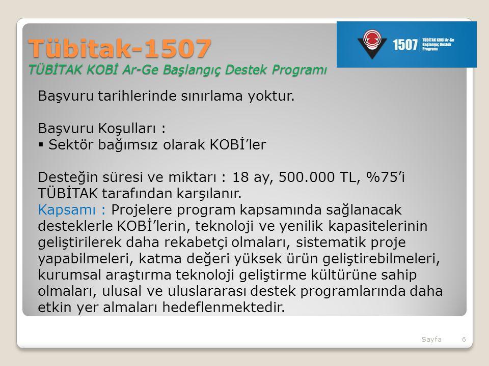 Tübitak-1507 TÜBİTAK KOBİ Ar-Ge Başlangıç Destek Programı