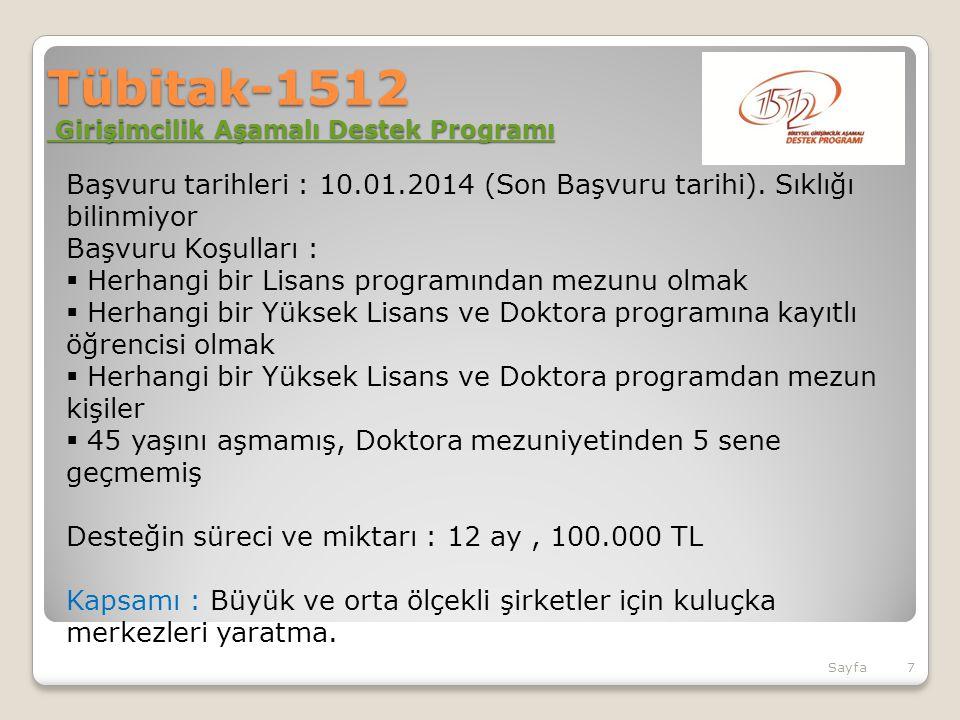 Tübitak-1512 Girişimcilik Aşamalı Destek Programı