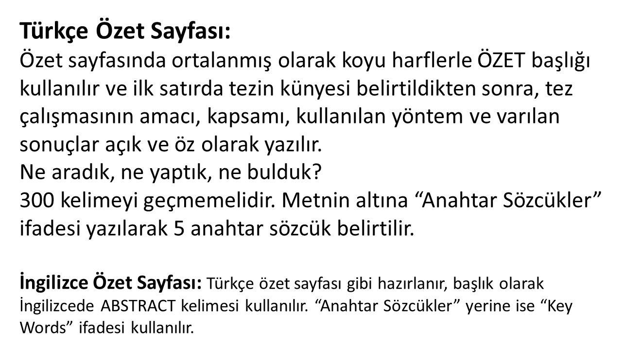 Türkçe Özet Sayfası: