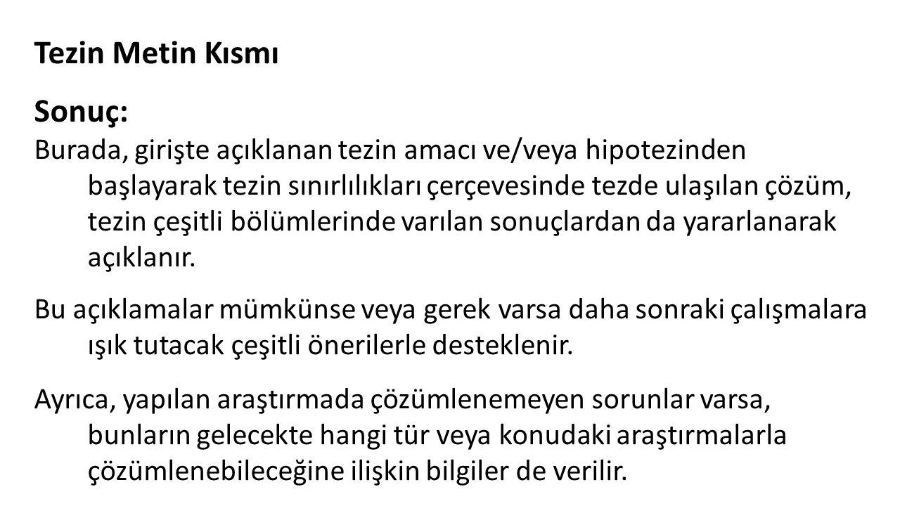 Tezin Metin Kısmı Sonuç: