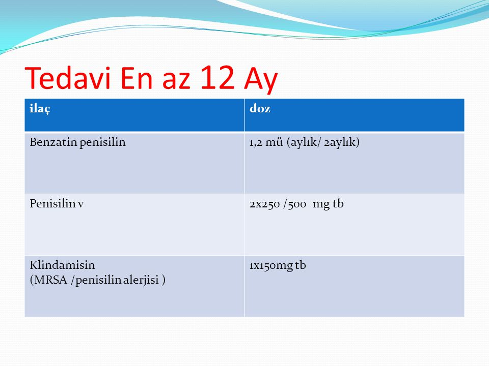 Tedavi En az 12 Ay ilaç doz Benzatin penisilin 1,2 mü (aylık/ 2aylık)