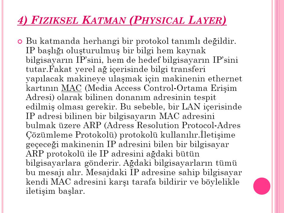 4) Fiziksel Katman (Physical Layer)