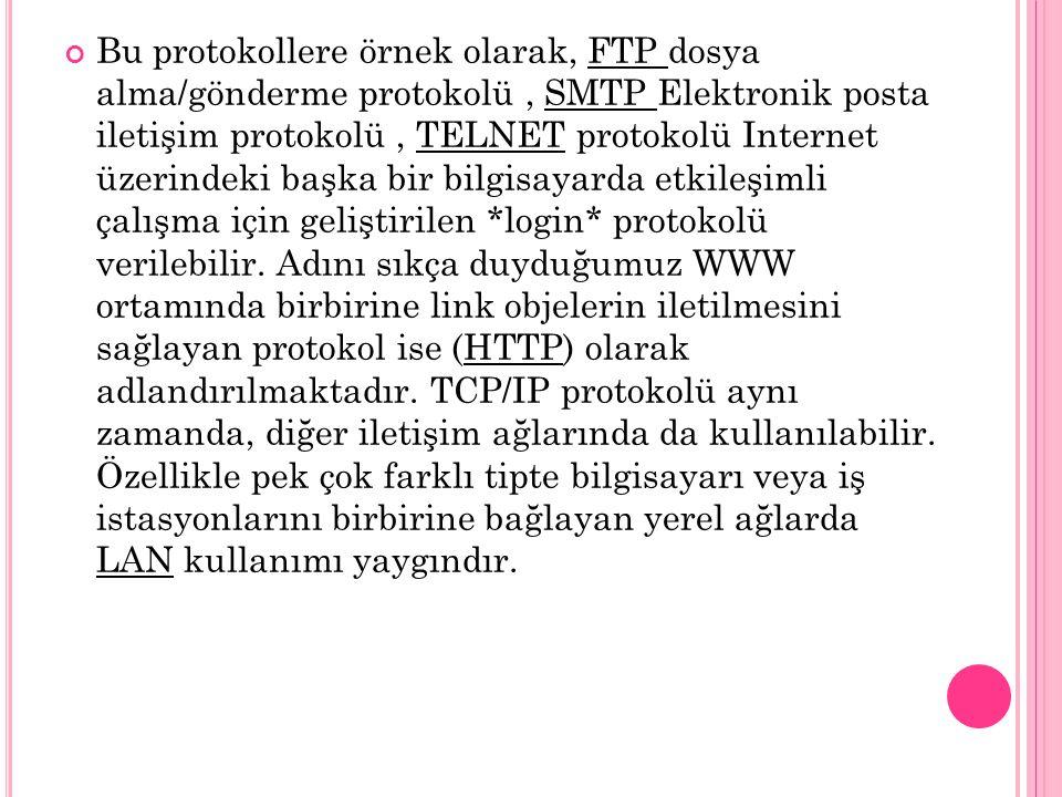 Bu protokollere örnek olarak, FTP dosya alma/gönderme protokolü , SMTP Elektronik posta iletişim protokolü , TELNET protokolü Internet üzerindeki başka bir bilgisayarda etkileşimli çalışma için geliştirilen *login* protokolü verilebilir.