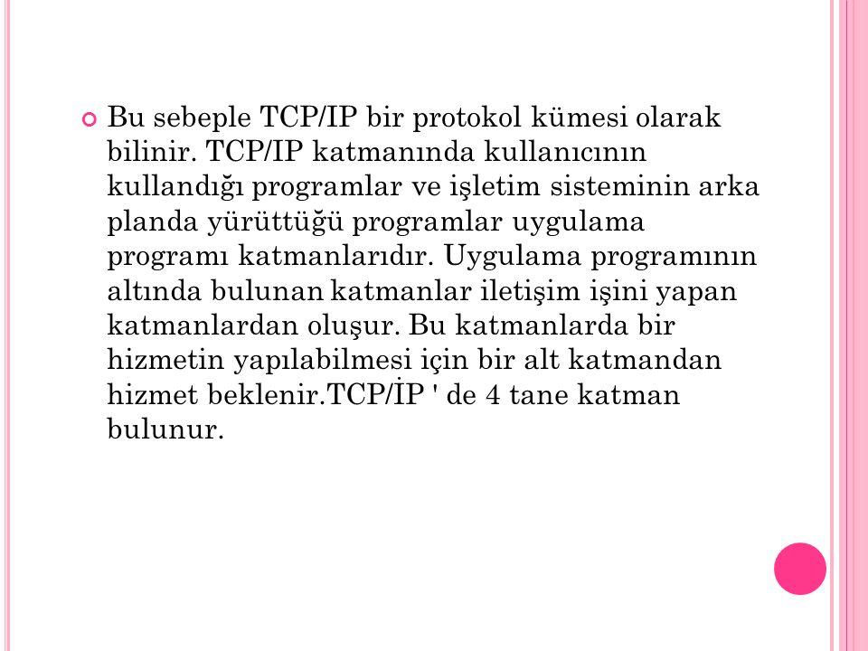 Bu sebeple TCP/IP bir protokol kümesi olarak bilinir