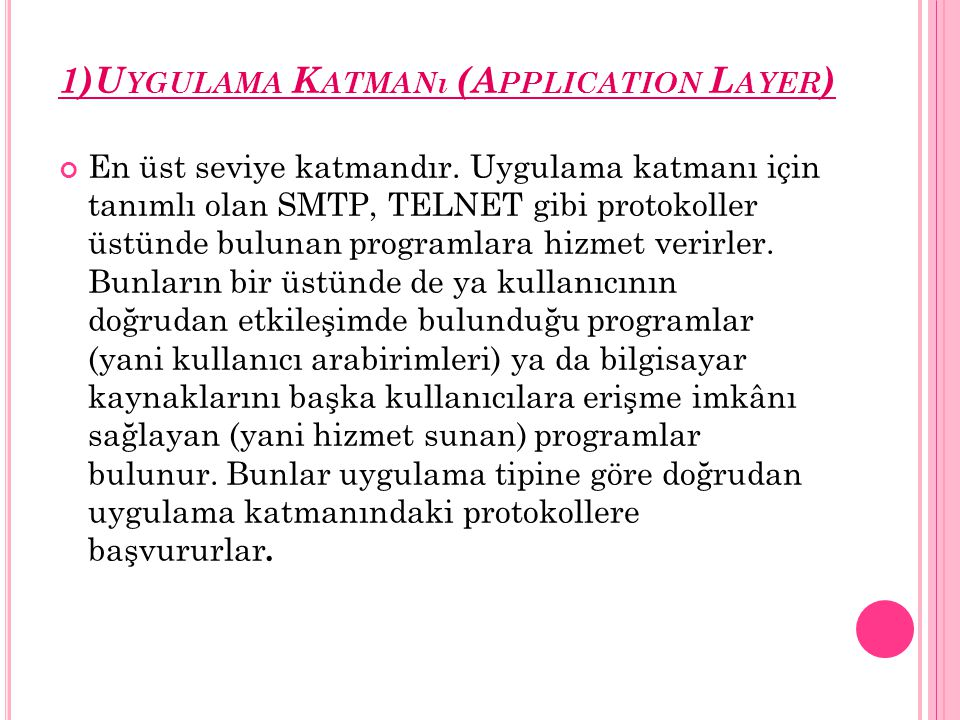 1)Uygulama Katmanı (Application Layer)