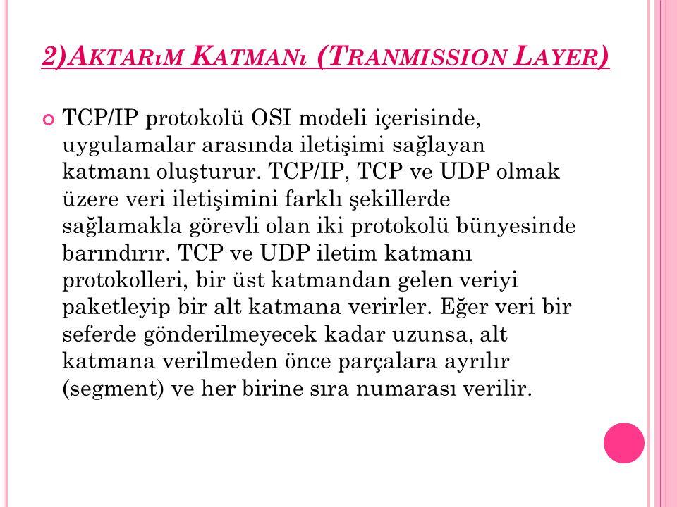 2)Aktarım Katmanı (Tranmission Layer)
