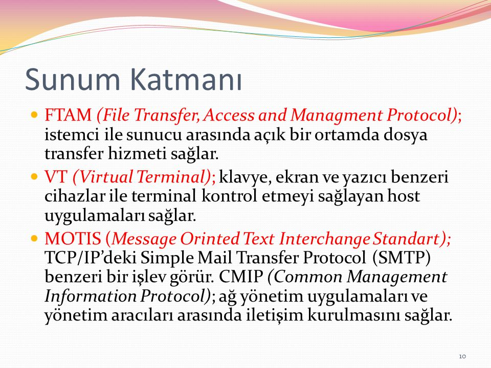 Sunum Katmanı FTAM (File Transfer, Access and Managment Protocol); istemci ile sunucu arasında açık bir ortamda dosya transfer hizmeti sağlar.