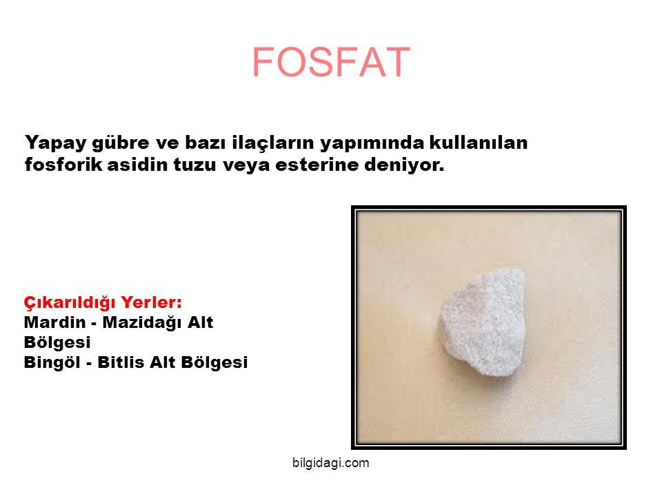 FOSFAT Yapay gübre ve bazı ilaçların yapımında kullanılan fosforik asidin tuzu veya esterine deniyor.