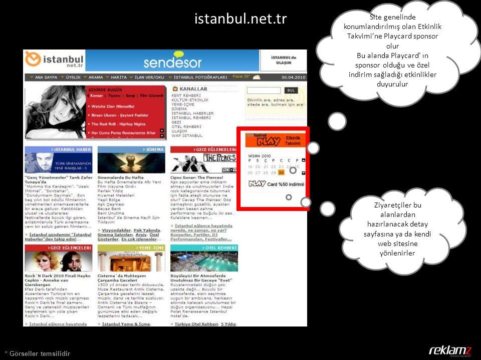Site genelinde konumlandırılmış olan Etkinlik Takvimi'ne Playcard sponsor olur