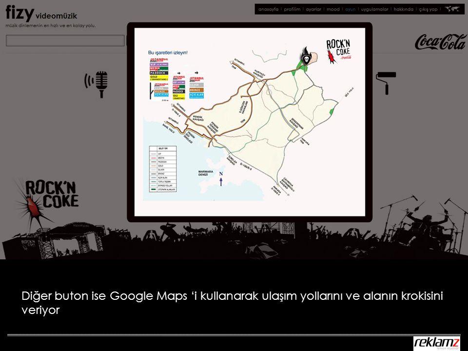 Diğer buton ise Google Maps 'i kullanarak ulaşım yollarını ve alanın krokisini veriyor