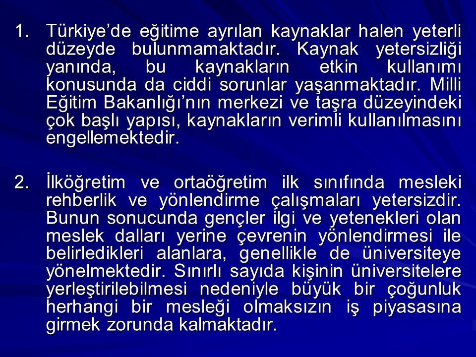 Türkiye'de eğitime ayrılan kaynaklar halen yeterli düzeyde bulunmamaktadır. Kaynak yetersizliği yanında, bu kaynakların etkin kullanımı konusunda da ciddi sorunlar yaşanmaktadır. Milli Eğitim Bakanlığı'nın merkezi ve taşra düzeyindeki çok başlı yapısı, kaynakların verimli kullanılmasını engellemektedir.