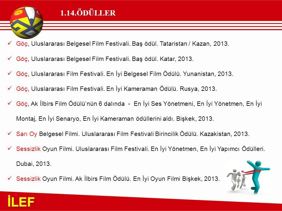 1.14.ÖDÜLLER Göç, Uluslararası Belgesel Film Festivali. Baş ödül. Tataristan / Kazan, 2013.