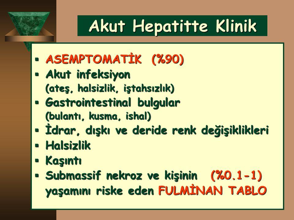 Akut Hepatitte Klinik ASEMPTOMATİK (%90) Akut infeksiyon