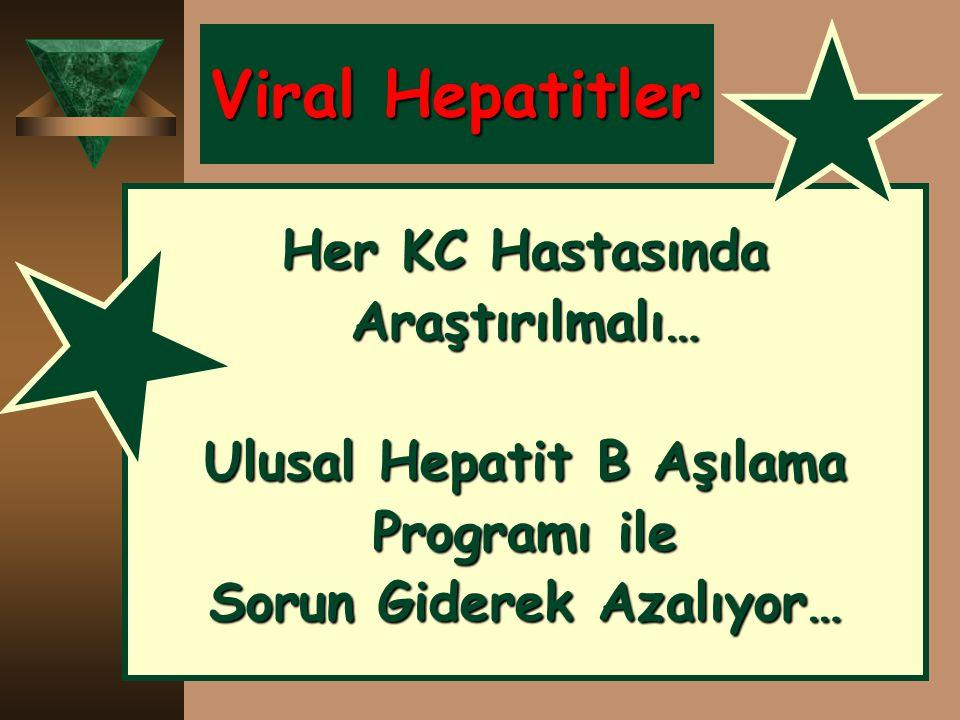 Ulusal Hepatit B Aşılama Sorun Giderek Azalıyor…