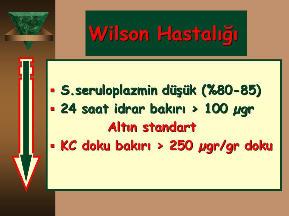 Wilson Hastalığı S.seruloplazmin düşük (%80-85)