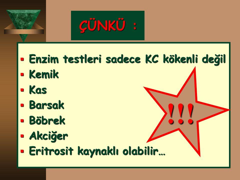 !!! ÇÜNKÜ : Enzim testleri sadece KC kökenli değil Kemik Kas Barsak