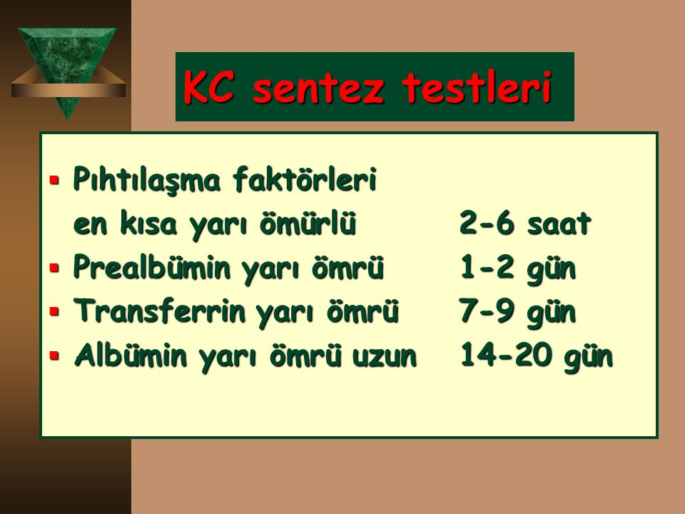 KC sentez testleri Pıhtılaşma faktörleri en kısa yarı ömürlü 2-6 saat