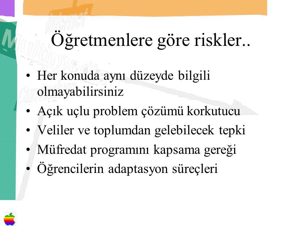 Öğretmenlere göre riskler..