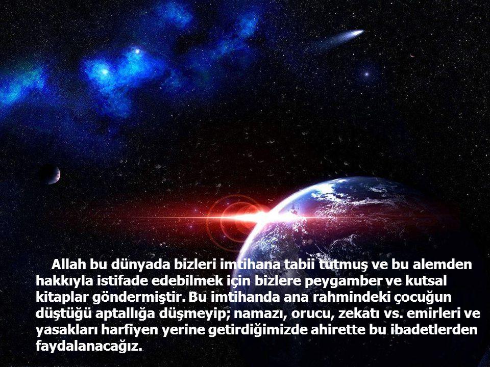 Allah bu dünyada bizleri imtihana tabii tutmuş ve bu alemden hakkıyla istifade edebilmek için bizlere peygamber ve kutsal kitaplar göndermiştir.
