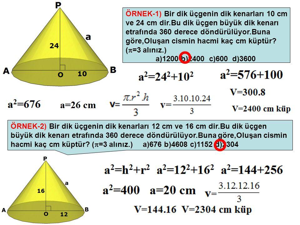 ÖRNEK-1) Bir dik üçgenin dik kenarları 10 cm