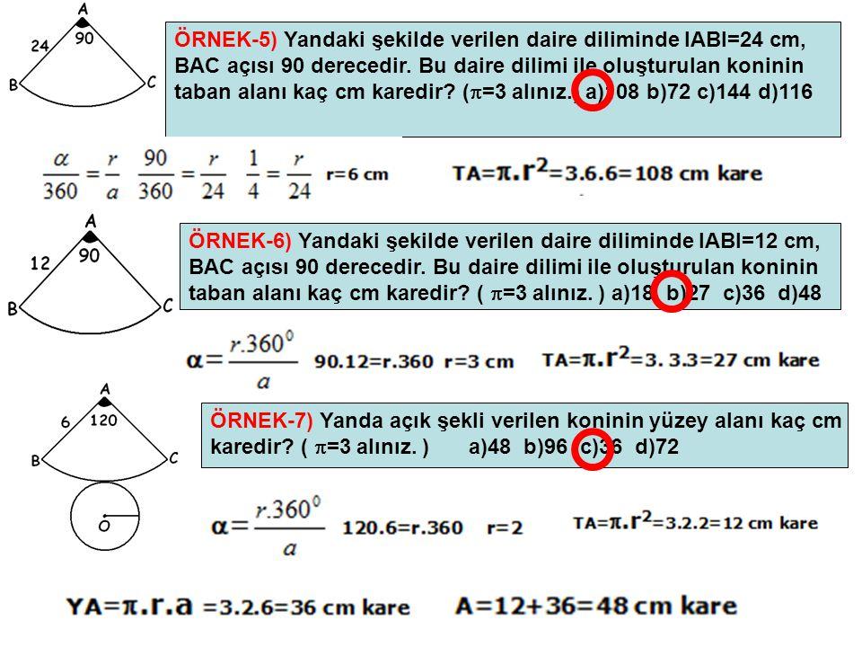 ÖRNEK-5) Yandaki şekilde verilen daire diliminde IABI=24 cm,