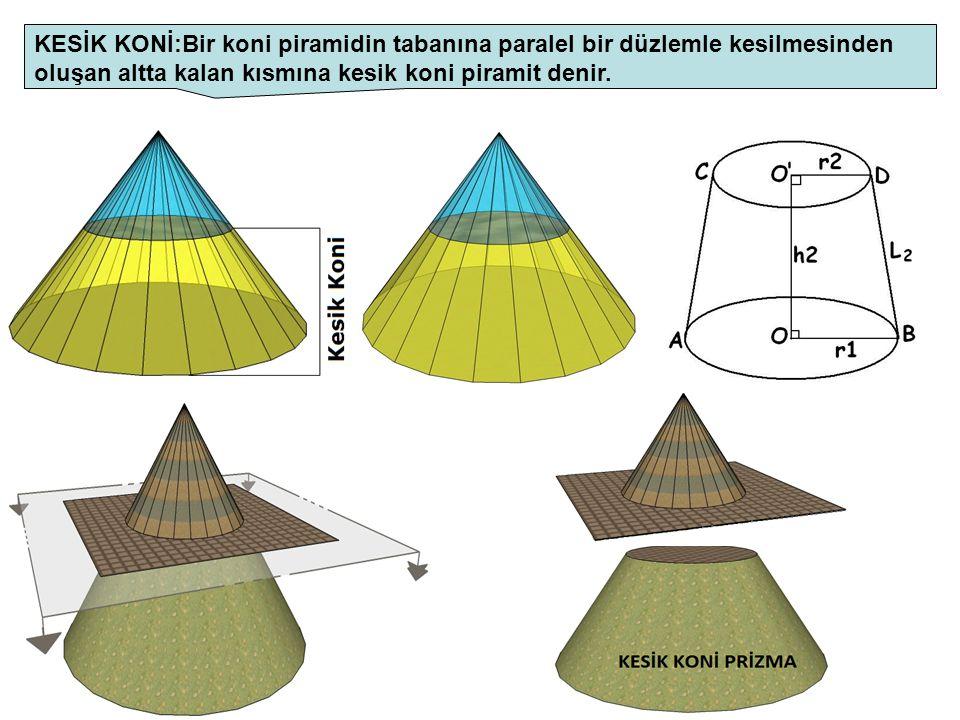 KESİK KONİ:Bir koni piramidin tabanına paralel bir düzlemle kesilmesinden oluşan altta kalan kısmına kesik koni piramit denir.