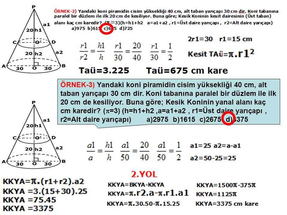 ÖRNEK-3) Yandaki koni piramidin cisim yüksekliği 40 cm, alt taban yarıçapı 30 cm dir.