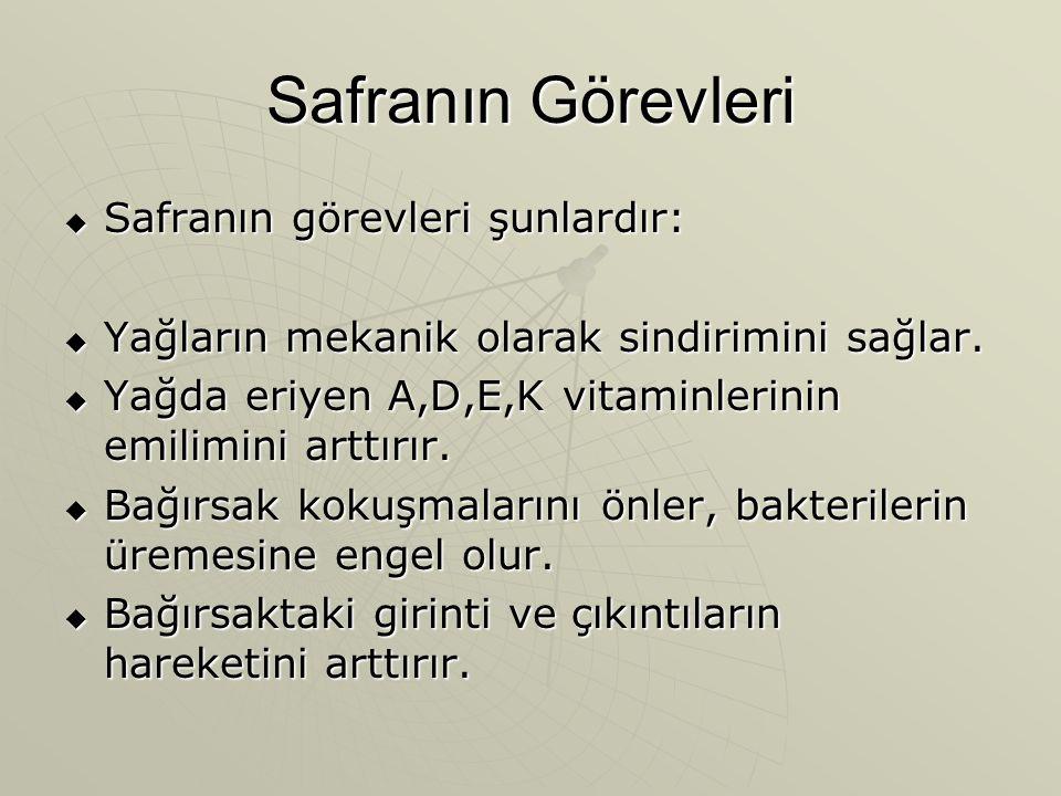 Safranın Görevleri Safranın görevleri şunlardır: