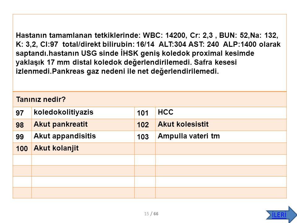 Hastanın tamamlanan tetkiklerinde: WBC: 14200, Cr: 2,3 , BUN: 52,Na: 132, K: 3,2, Cl:97 total/direkt bilirubin: 16/14 ALT:304 AST: 240 ALP:1400 olarak saptandı.hastanın USG sinde İHSK geniş koledok proximal kesimde yaklaşık 17 mm distal koledok değerlendirilemedi. Safra kesesi izlenmedi.Pankreas gaz nedeni ile net değerlendirilemedi.