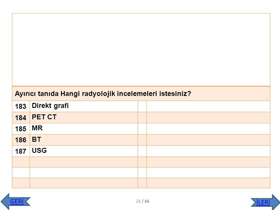 Ayırıcı tanıda Hangi radyolojik incelemeleri istesiniz 183