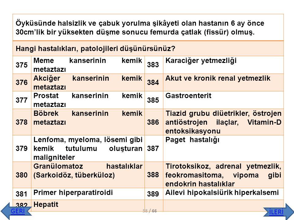 Hangi hastalıkları, patolojileri düşünürsünüz 375