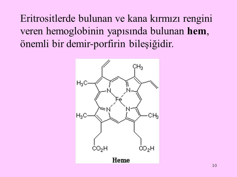 Eritrositlerde bulunan ve kana kırmızı rengini veren hemoglobinin yapısında bulunan hem, önemli bir demir-porfirin bileşiğidir.