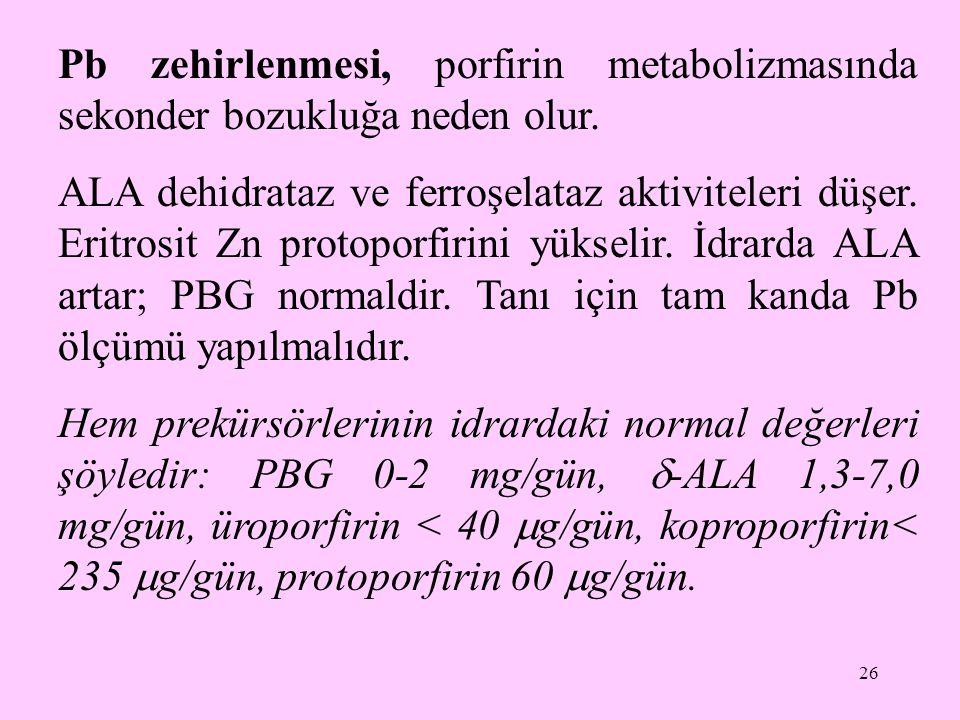 Pb zehirlenmesi, porfirin metabolizmasında sekonder bozukluğa neden olur.