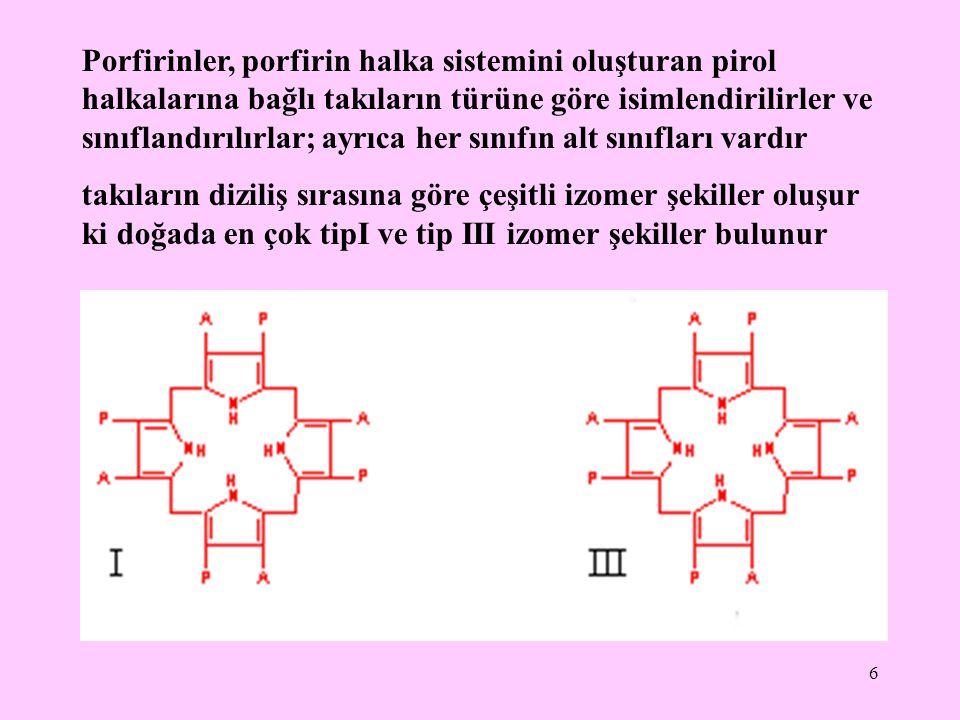 Porfirinler, porfirin halka sistemini oluşturan pirol halkalarına bağlı takıların türüne göre isimlendirilirler ve sınıflandırılırlar; ayrıca her sınıfın alt sınıfları vardır