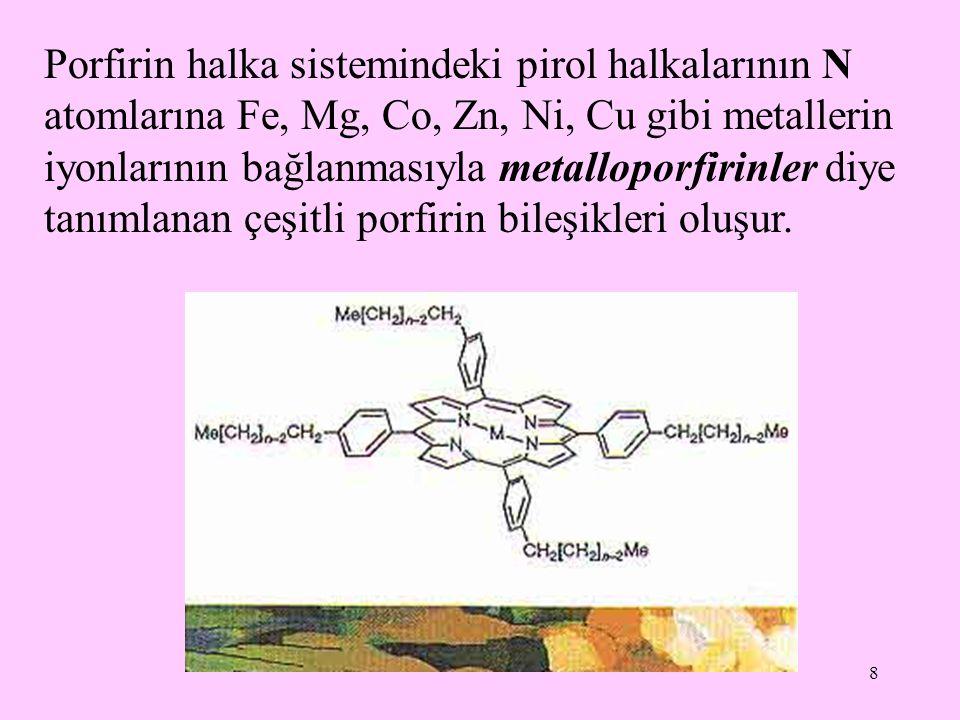 Porfirin halka sistemindeki pirol halkalarının N atomlarına Fe, Mg, Co, Zn, Ni, Cu gibi metallerin iyonlarının bağlanmasıyla metalloporfirinler diye tanımlanan çeşitli porfirin bileşikleri oluşur.